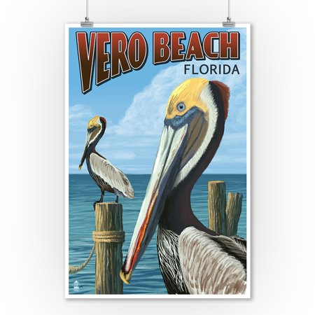 Vero Beach, Florida - Brown Pelicans - Lantern Press Artwork (9x12 Art Print, Wall Decor Travel Poster)