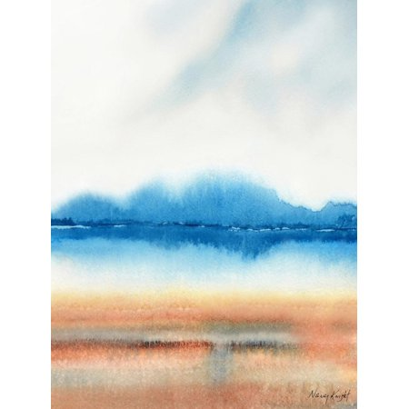 Beachscape Watercolor Beach Ocean Sea Contemporary Abstract Landscape Painting Print Wall Art By Nancy Knight