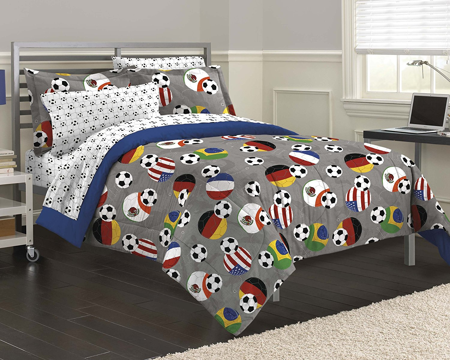 Soccer Fever Bedding Comforter Set Gray Twin Features Multicolored On A Solid Background And Reverses To Nautical