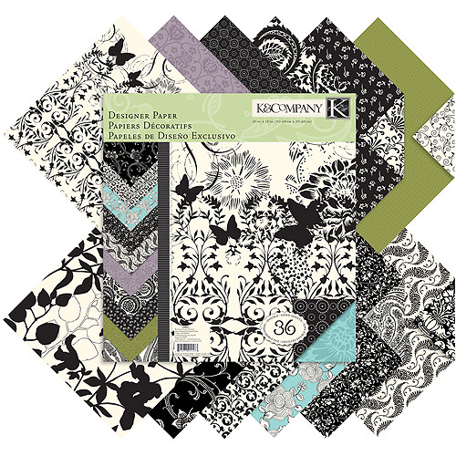 "K&Company Designer Double-Sided Paper Pad, 12"" x 12"", Black and Ivory Fusion, 36 Sheets"