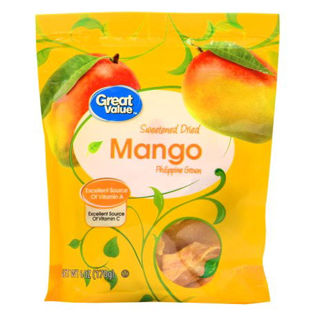 (3 Pack) Great Value Sweetened Dried Mango, 6 oz (Chocolate Dried Fruit)