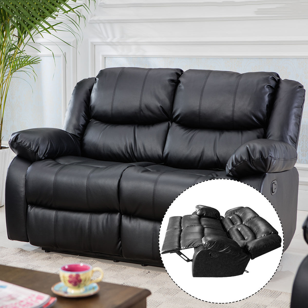 Costway Black Motion Sofa Loveseat Recliner Living Room Bonded Leather Furniture(loveseat)