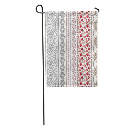 SIDONKU Lace Looking Vintage Silk Bohemian and Floral Patterns Zebra Paisley Borders Roses Ethnic Collection Garden Flag Decorative Flag House Banner 28x40 inch