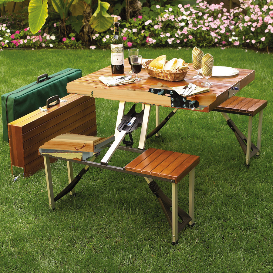 Picnic at Ascot Portable Folding Wooden Outdoor Picnic Table with 4 Seats- Brown (246)