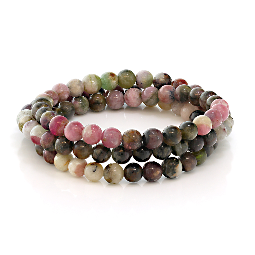 Stunning 6mm Round Stackable Tourmaline Bead Stretchy Bracelet   Necklace by