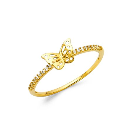 Ladies Butterfly Ring (Womens 14K Solid Yellow Gold Butterfly Cubic Zirconia Band Fancy Ring, Size 5.5 )