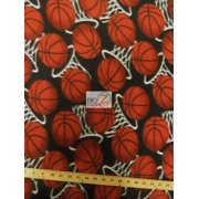 Fleece Printed Fabric Sports Basketball / Hoops / Sold By The Yard