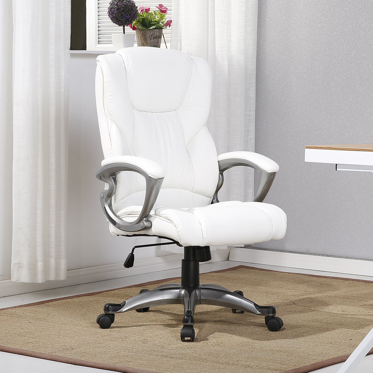 Belleze Executive Office Chair Padded Leather Swivel Task Computer Adjustable Height, White