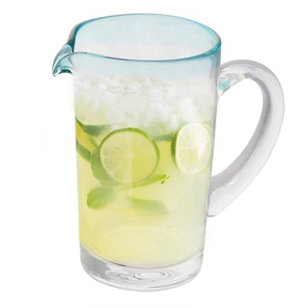 Mexican Glass 37 Oz. Pitcher - Glass Margarita Pitcher - Blue Rim Water Lemonate Beer Pitcher