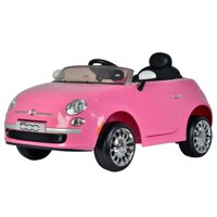 KidPlay Products Girls Ride On Car Fiat 500 Pink 12V Battery Kids Ride-able Car