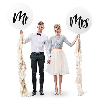 "36"" Jumbo White Round Wedding Balloon - ""Mr"""