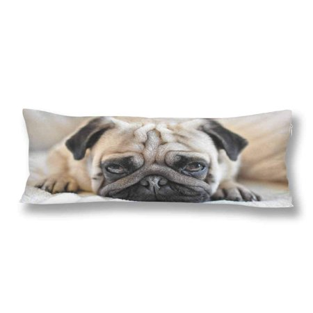 ABPHOTO Funny Pug Dog Body Pillow Covers Pillowcase 20x60 inch Hipster Animal Body Pillow Case Protector ()