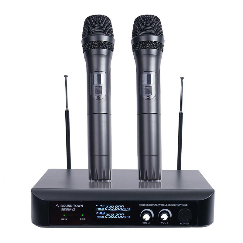 Sound Town Professional Dual-Channel VHF Handheld Wireless Microphone System with LED... by Sound Town