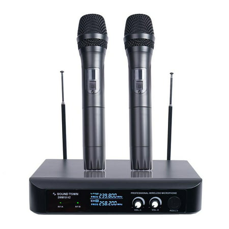 - Sound Town Professional Dual-Channel VHF Handheld Wireless Microphone System with LED Display, 2 Handheld Mics for Family Party, Conference, Karaoke, wedding, Church (SWM10-V2HH)
