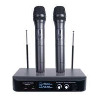 Sound Town Professional Dual-Channel VHF Handheld Wireless Microphone System with LED Display, 2 Handheld Mics for Family Party, Conference, Karaoke, wedding, Church (SWM10-V2HH)