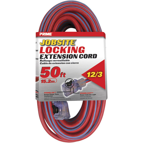 Prime 12/3 SJTW Locking Cord, Red and Blue, 50-Feet