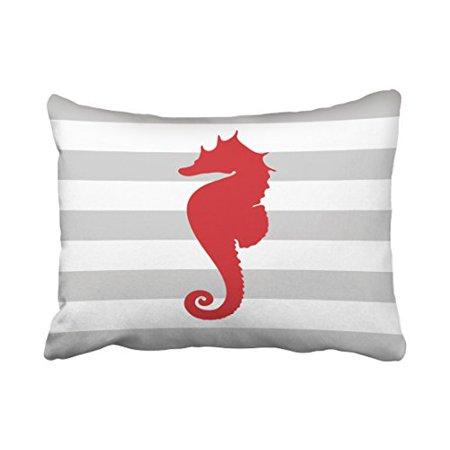 RYLABLUE Rectangle Throw Pillow Covers Vintage Gray And Red Nautical Stripes And Cute Seahorse Pillowcases Polyester 20 x 30 Inch With Hidden Zipper Home Sofa Cushion Decorative Pillowcase - image 1 of 1