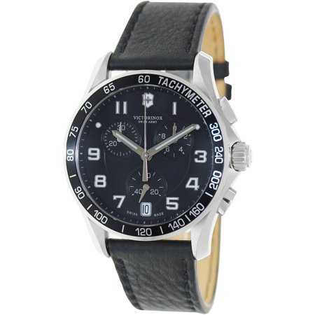 Gents Black Strap - Swiss Army Mens Chrono Classic - Black Dial - Black Leather Strap - Tachymeter