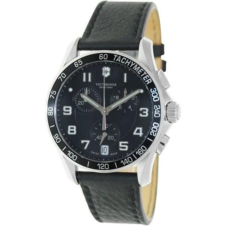 Victorinox Swiss Army Men's Chrono Classic 241493 Black Calf Skin Swiss Quartz Watch