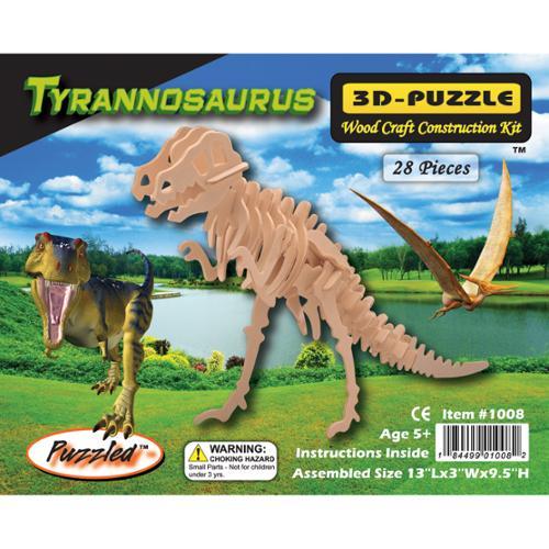 """3D Jigsaw Puzzle 28 Pieces 13""""x3""""x9.5""""-T-Rex"""