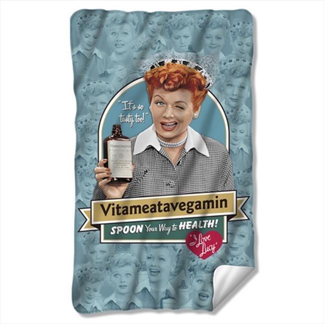 Trevco LB256-BKT1-0 36 x 60 In. Lucy And Vitameatavegamin Fleece Blanket - White