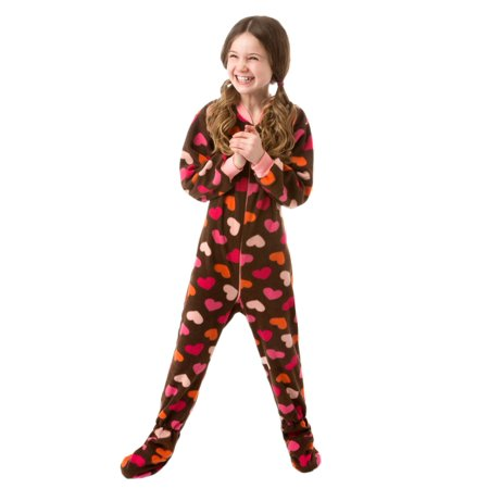 Big Feet Pjs Kids Footed One Piece Sleeper Chocolate Brown with Hearts Footed Pajamas (Halloween Pjs For Kids)