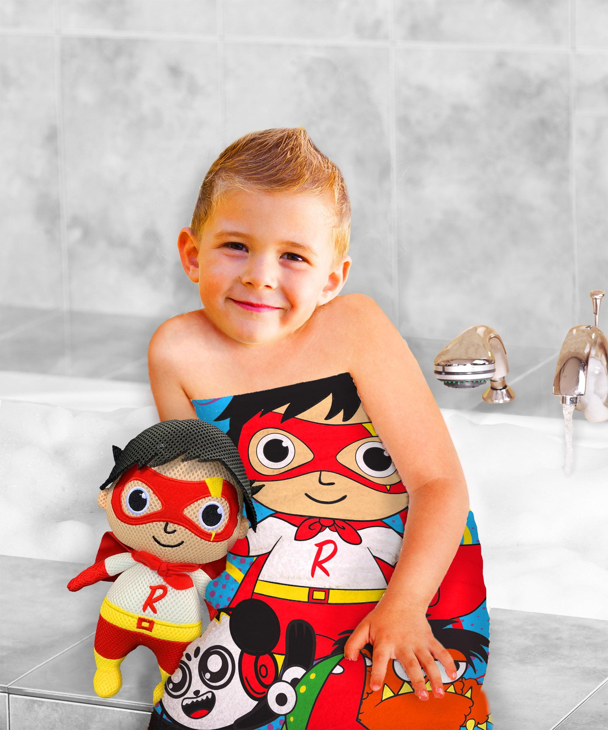 Ryan's World 2-Piece Bath Towel and Character Scrubby Set, Kids Bath Set, Red Titan