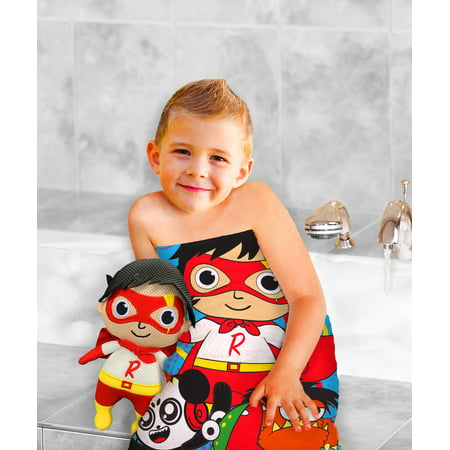 Ryan's World 2-Piece Bath Towel and Character Scrubby Set, Kids Bath Set, Red Titan