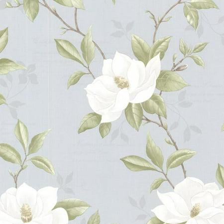 Olive Trail Wallpaper (Brewster Cressida Blue Magnolia Trail Wallpaper )
