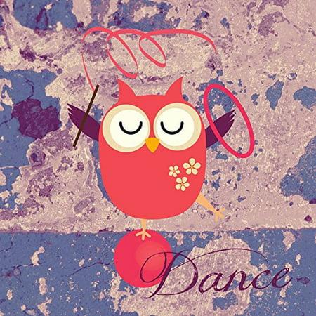 Dancing Art Poster - Dancing Owl 12x12 Childrens Art Print Poster Decor by Brandi Fitzgerald POD