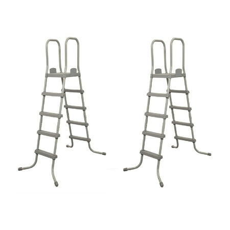 Bestway 52 Inch Steel Above Ground Swimming Pool Ladder No-Slip Steps (2 Pack) -  2 x 58337E-BW