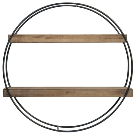 Gallery Solutions Round Metal And Wood Wall Shelf