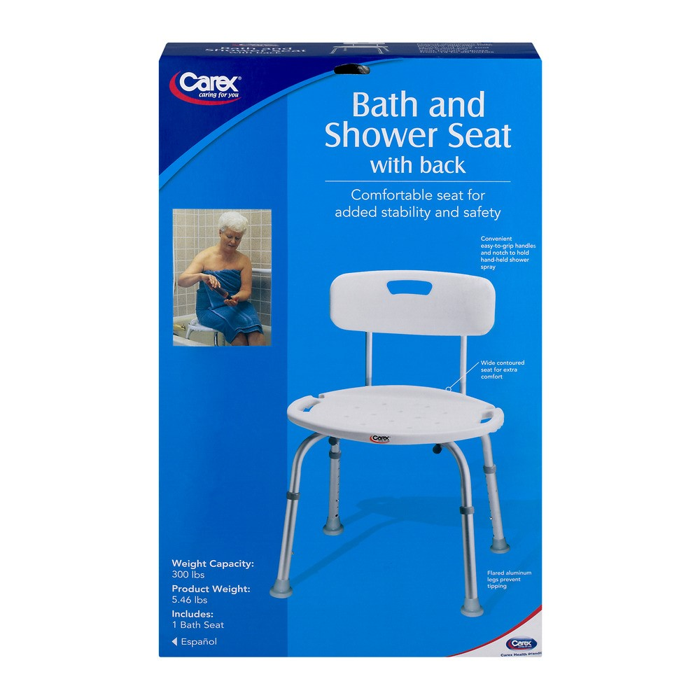 Carex Adustable Bath & Shower Seat with Back - Walmart.com