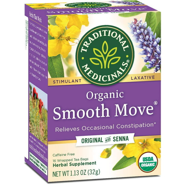 Traditional Medicinals Smooth Move Laxative Tea Bags Organic, 16 CT (Pack - 3)