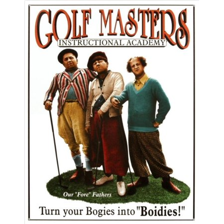 Three Stooges Golf Masters Tin Sign 13 x 16in, Lithographed Steel Metal By Desperate Enterprises Inc