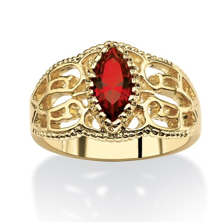 Ruby Filligree Ring (Marquise-Cut Birthstone Filigree Ring in 14k Gold-Plated Finish - July- Simulated)