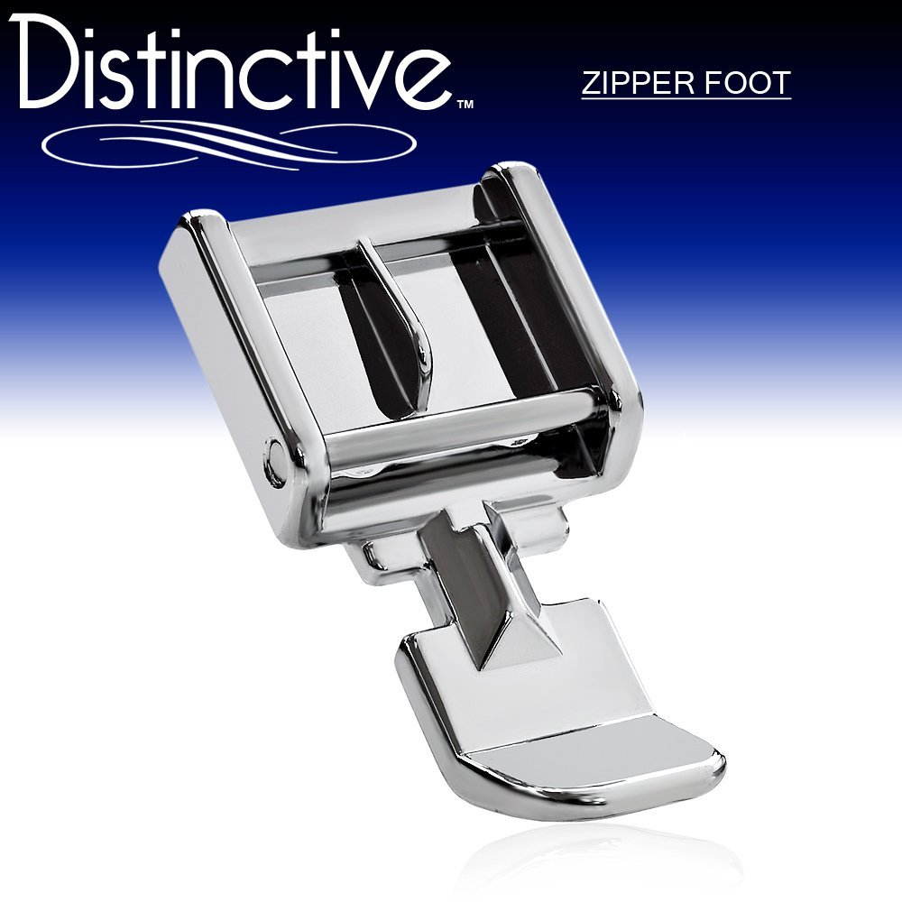 Distinctive Zipper Sewing Machine Presser Foot - Fits All Low Shank Snap-On Machines