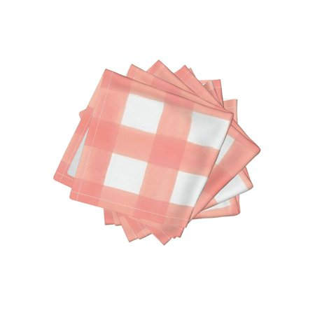 Cocktail Napkins Pink Checked Shabby Chic Nursery Peach Checks Set of - Peach Napkins