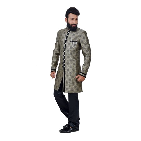 Multi Art Brocade Silk Traditional Indian Wedding Indo-Western Sherwani for Men. This product is custom made to order. - image 3 de 6