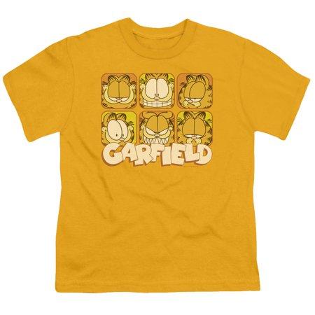 Garfield Many Faces Big Boys Shirt GOLD Comic Strip Cartoon Character Tee (Buy Gold)