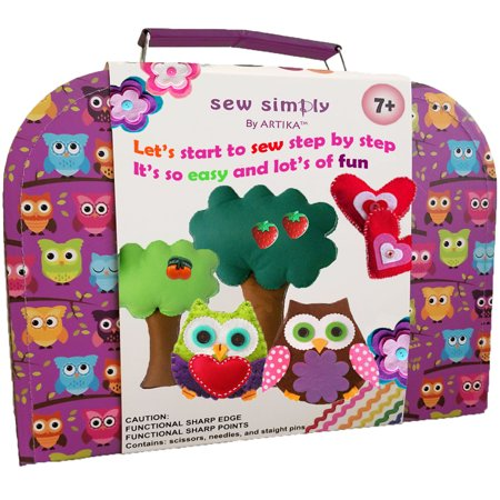 Sewing Kit for beginners, DIY crafts for kids, The Most Wide-Ranging Kids Sewing Kit, Over 110 Quality Kids Sewing Supplies, Includes booklet of cutting shapes stencils for beginners in sewing. - Halloween Kids Craft Ideas