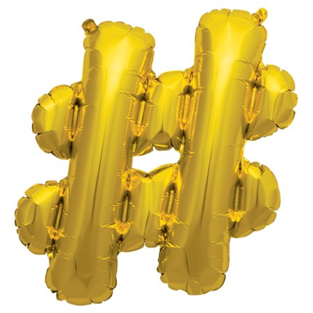 Northstar Hashtag Shape Solid Color Mylar Helium 16