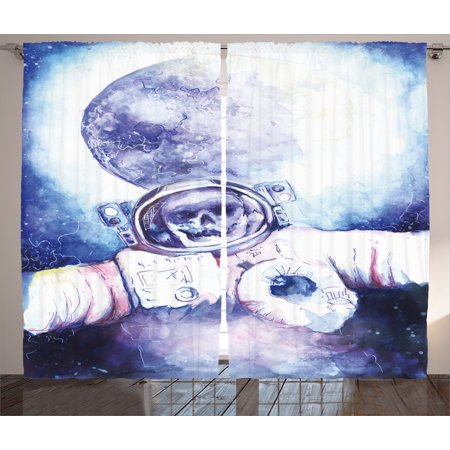 Skull Decorations Curtains 2 Panels Set  Watercolor Cosmonaut On Outer Space Milky Way With Moon Earth Galaxy  Window Drapes For Living Room Bedroom  108W X 90L Inches  Blue Purple  By Ambesonne