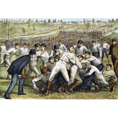 College Football Game 1879 Nthe Football Game Between Yale And Princeton On 27 November 1879 Contemporary Colored Engraving Rolled Canvas Art -  (24 x 36) College Football Art