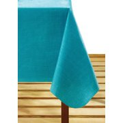 """Mainstays Linen PEVA 60"""" x 84"""" Turquoise Tablecloth"""
