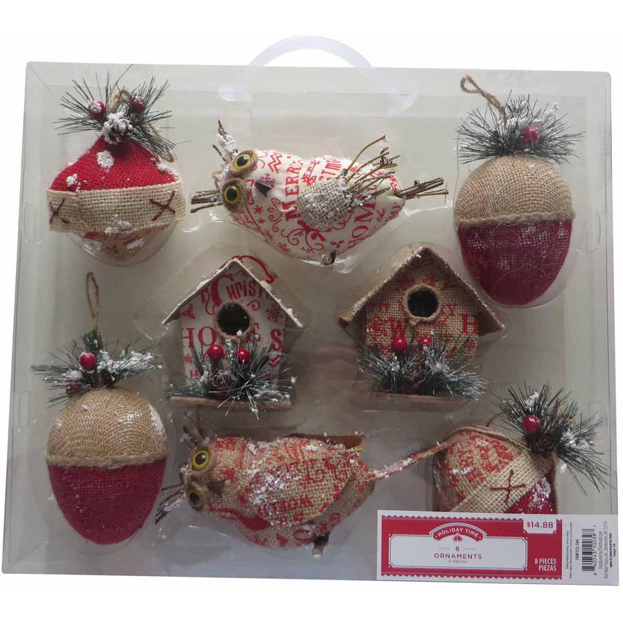 Holiday Time Christmas Ornaments 8-Piece Hand Made Ornament Set