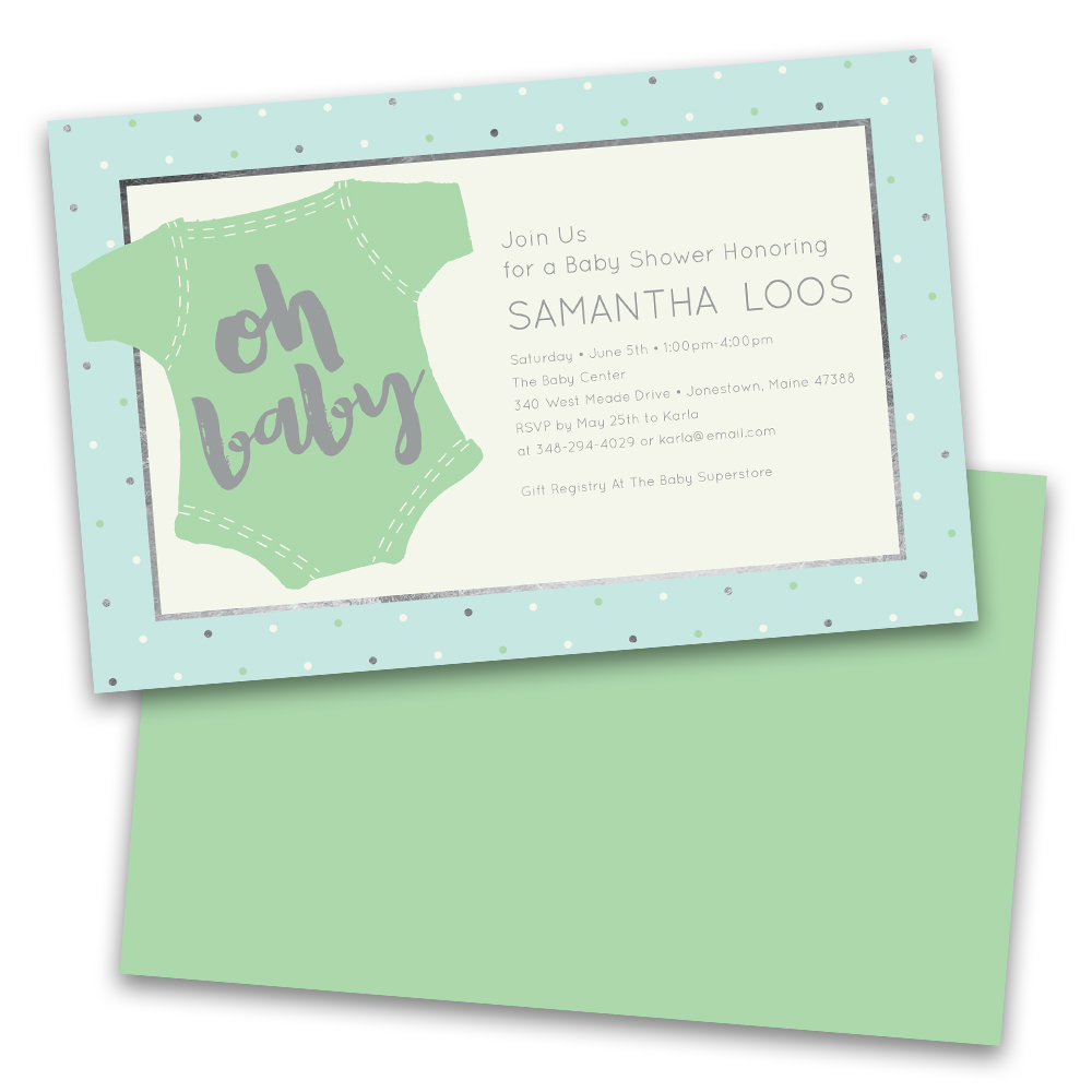 Personalized Oh Baby Onesie Personalized Baby Shower Invitations