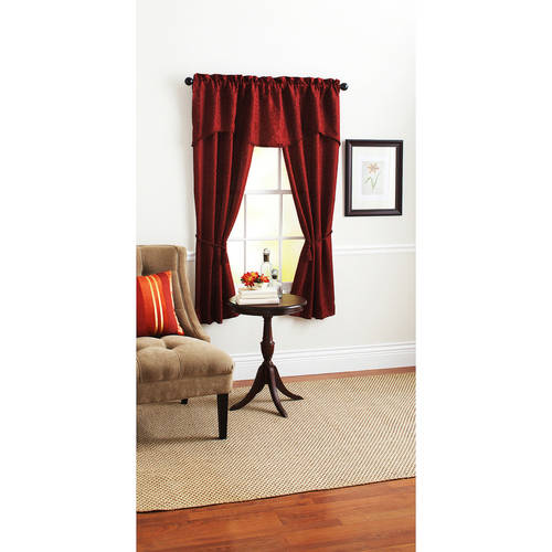 Mainstays Damask Scroll Window Curtain Set, Curtain Panels and Valances Included by VCNY Home