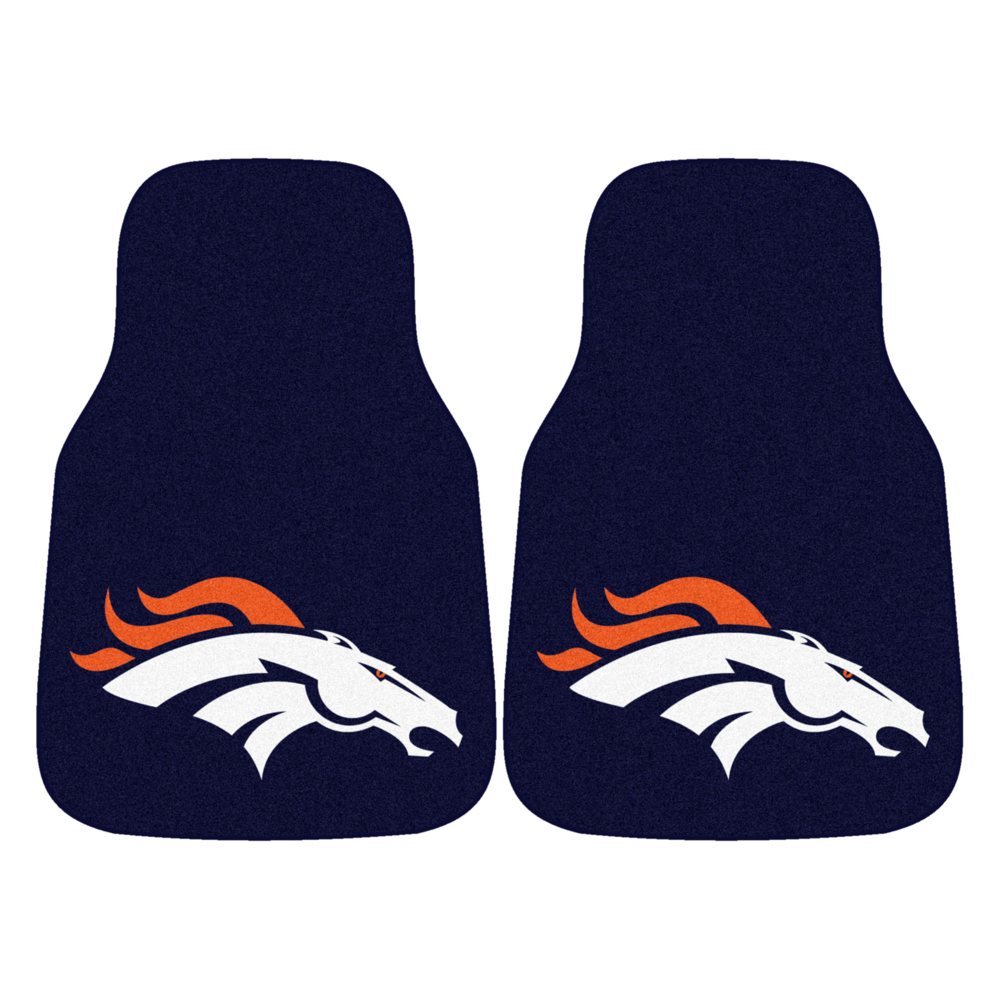 NFL Denver Broncos 2-PC Set of Front Carpet Car Mats, Universal Size