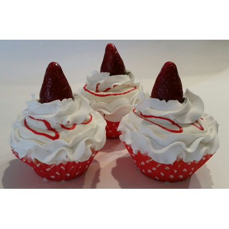 Strawberry Shortcake Faux Cupcakes- Fake Food Display SET of 3- Home Decor, Party Favors, Decoration by - Strawberry Shortcake Party Favors